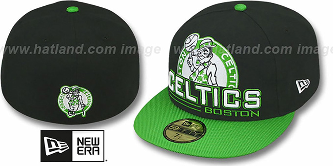 Celtics 'TECH MARK' Black-Green Fitted Hat by New Era : pictured without stickers that these products are shipped with