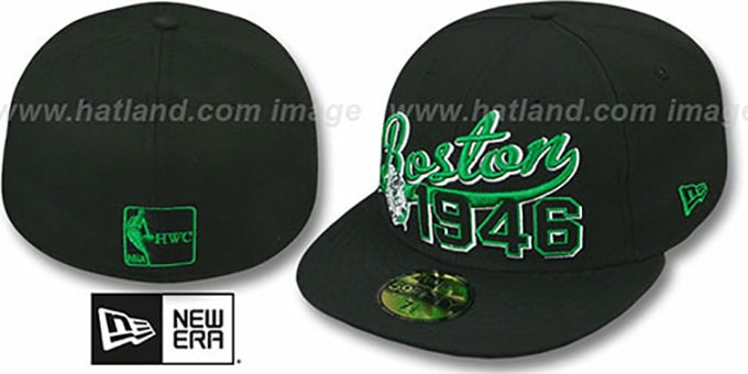 Celtics 'THE BEGINNING' Black Fitted Hat by New Era : pictured without stickers that these products are shipped with