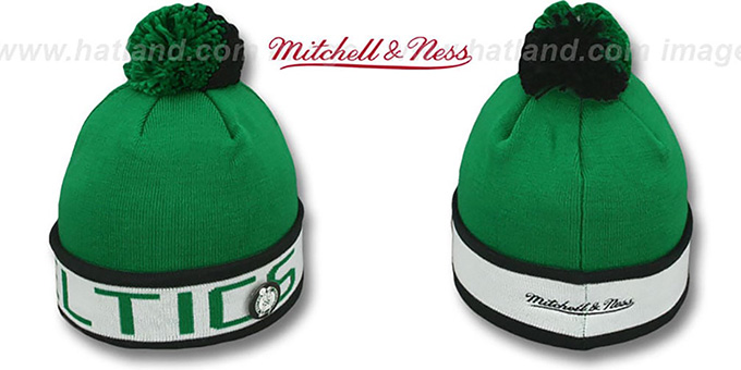 Celtics 'THE-BUTTON' Knit Beanie Hat by Michell & Ness : pictured without stickers that these products are shipped with