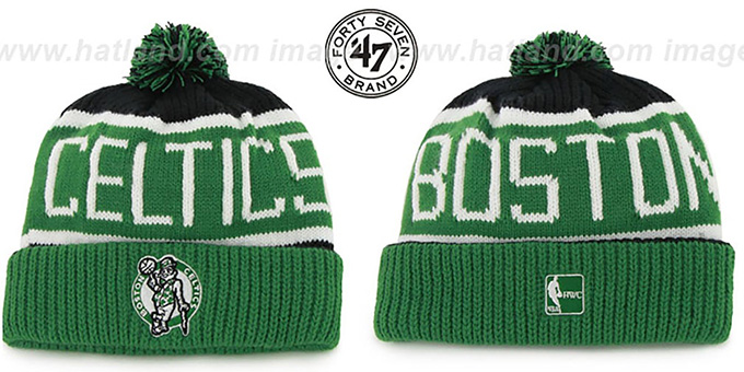 Celtics 'THE-CALGARY' Green-Black Knit Beanie Hat by Twins 47 Brand : pictured without stickers that these products are shipped with