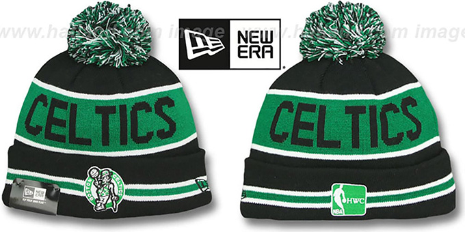 Celtics 'THE-COACH' Black Knit Beanie Hat by New Era : pictured without stickers that these products are shipped with