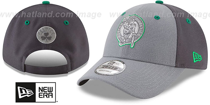 Celtics 'THE-LEAGUE GREY-POP STRAPBACK' Hat by New Era : pictured without stickers that these products are shipped with