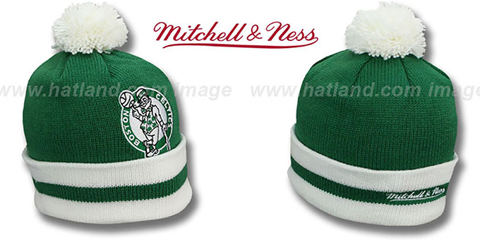 Celtics 'XL-LOGO BEANIE' Green by Mitchell and Ness : pictured without stickers that these products are shipped with