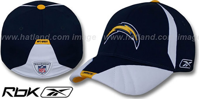 Chargers '2008 SIDELINE-1 FLEX' Navy Hat by Reebok : pictured without stickers that these products are shipped with