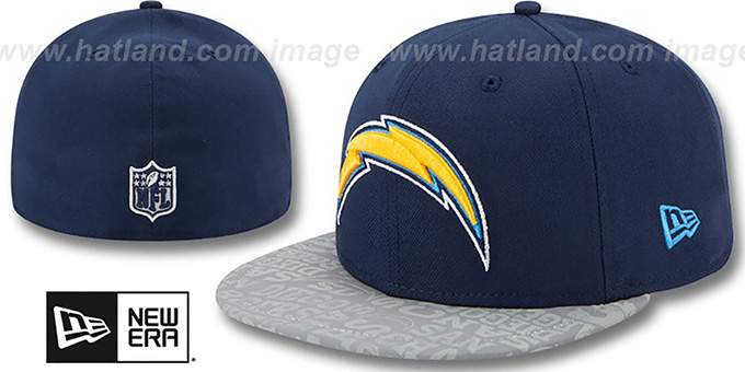 Chargers '2014 NFL DRAFT' Navy Fitted Hat by New Era : pictured without stickers that these products are shipped with