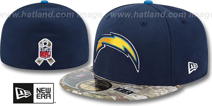 Chargers '2014 SALUTE-TO-SERVICE' Navy-Desert Fitted Hat by New Era : pictured without stickers that these products are shipped with