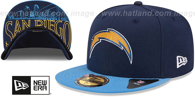 Chargers '2015 NFL DRAFT' Navy-Blue Fitted Hat by New Era : pictured without stickers that these products are shipped with