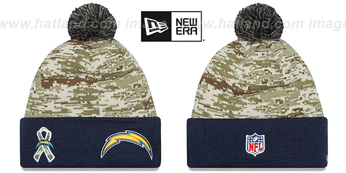 Chargers '2015 SALUTE-TO-SERVICE' Knit Beanie Hat by New Era : pictured without stickers that these products are shipped with