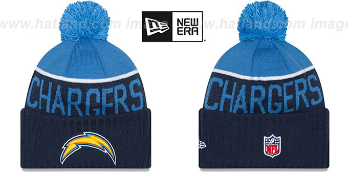 Chargers '2015 STADIUM' Navy-Sky Knit Beanie Hat by New Era : pictured without stickers that these products are shipped with