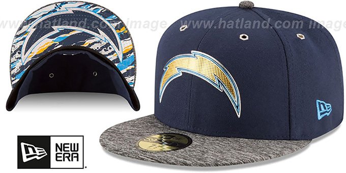 Chargers '2016 NFL DRAFT' Fitted Hat by New Era : pictured without stickers that these products are shipped with