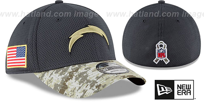 Chargers '2016 SALUTE-TO-SERVICE FLEX' Grey-Desert Hat by New Era : pictured without stickers that these products are shipped with