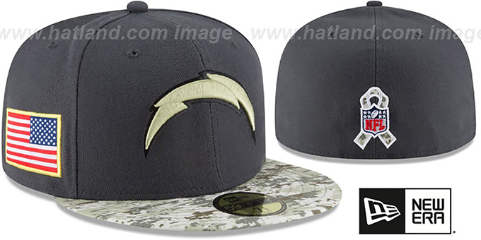 Chargers '2016 SALUTE-TO-SERVICE' Grey-Desert Fitted Hat by New Era : pictured without stickers that these products are shipped with