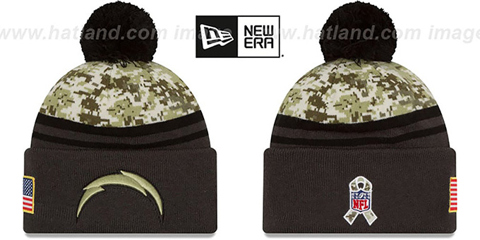 Chargers '2016 SALUTE-TO-SERVICE' Knit Beanie Hat by New Era : pictured without stickers that these products are shipped with