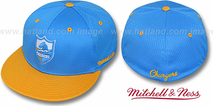 Chargers '2T BP-MESH' Sky-Gold Fitted Hat by Mitchell & Ness : pictured without stickers that these products are shipped with