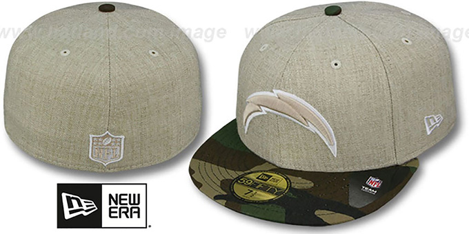 Chargers '2T-HEATHER' Oatmeal-Army Fitted Hat by New Era : pictured without stickers that these products are shipped with