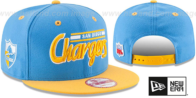 Chargers '2T RETRO-SCRIPT SNAPBACK' Sky-Gold Hat by New Era : pictured without stickers that these products are shipped with