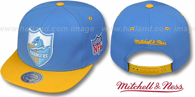 Chargers '2T XL-LOGO SNAPBACK' Blue-Gold Adjustable Hat by Mitchell and Ness : pictured without stickers that these products are shipped with