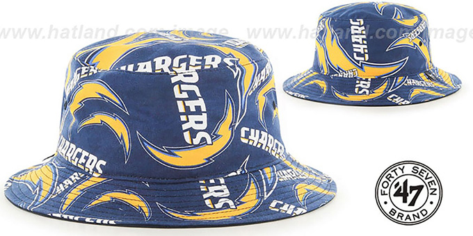 Chargers 'BRAVADO BUCKET' Hat by Twins 47 Brand : pictured without stickers that these products are shipped with