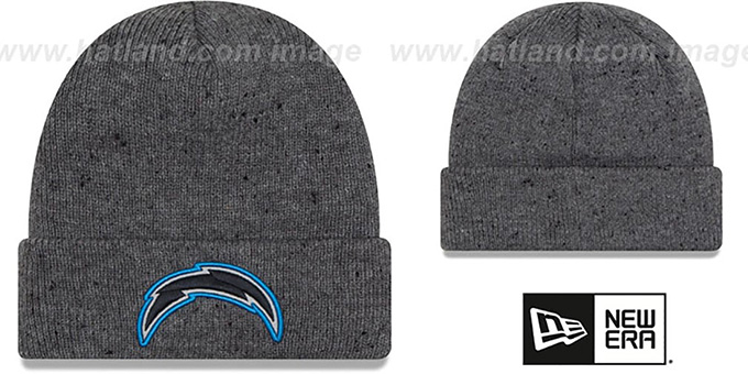 Chargers 'HEATHERED-SPEC' Grey Knit Beanie Hat by New Era : pictured without stickers that these products are shipped with