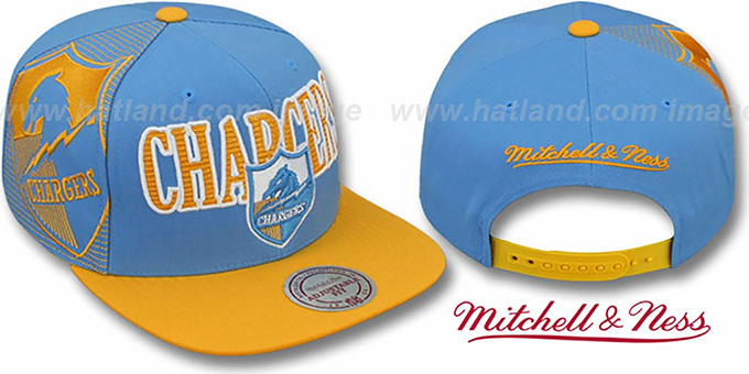 Chargers 'LASER-STITCH SNAPBACK' Sky-Gold Hat by Mitchell and Ness : pictured without stickers that these products are shipped with