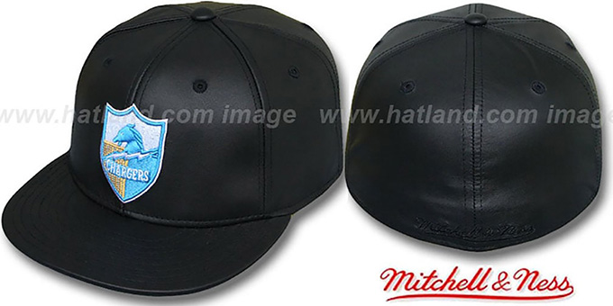 Chargers 'LEATHER THROWBACK' Fitted Hat by Mitchell and Ness : pictured without stickers that these products are shipped with