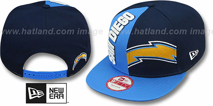 Chargers 'NE-NC DOUBLE COVERAGE SNAPBACK' Hat by New Era : pictured without stickers that these products are shipped with