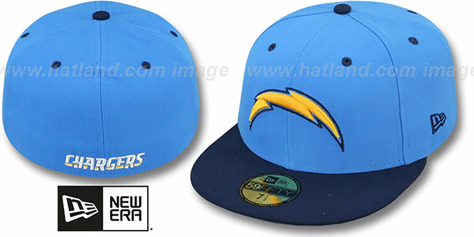 Chargers 'NFL 2T-TEAM-BASIC' Blue-Navy Fitted Hat by New Era : pictured without stickers that these products are shipped with