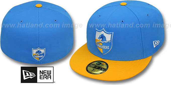 Chargers 'NFL 2T THROWBACK TEAM-BASIC' Sky-Gold Fitted Hat by New Era : pictured without stickers that these products are shipped with