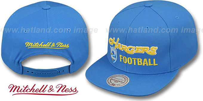 Chargers 'NFL-BLOCKER SNAPBACK' Sky Hat by Mitchell & Ness : pictured without stickers that these products are shipped with