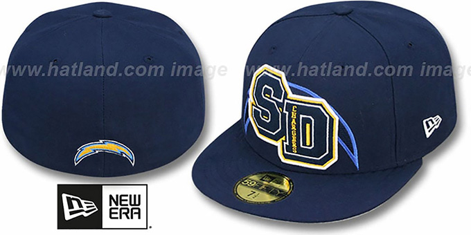 Chargers 'NFL FELTN' Navy Fitted Hat by New Era : pictured without stickers that these products are shipped with