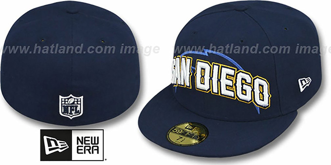 Chargers 'NFL ONFIELD DRAFT' Navy Fitted Hat by New Era : pictured without stickers that these products are shipped with