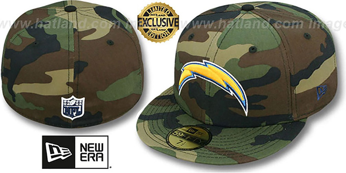 Chargers 'NFL TEAM-BASIC' Army Camo Fitted Hat by New Era : pictured without stickers that these products are shipped with