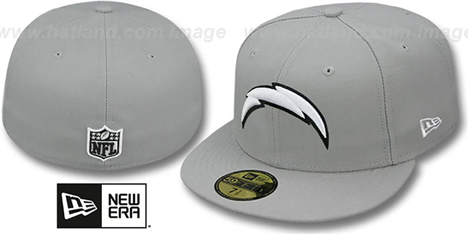 Chargers 'NFL TEAM-BASIC' Grey-Black-White Fitted Hat by New Era : pictured without stickers that these products are shipped with