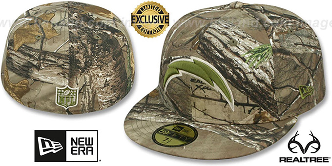 Chargers 'NFL TEAM-BASIC' Realtree Camo Fitted Hat by New Era : pictured without stickers that these products are shipped with