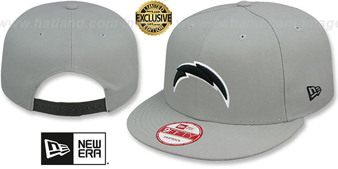 Chargers 'NFL TEAM-BASIC SNAPBACK' Grey-Black Hat by New Era : pictured without stickers that these products are shipped with