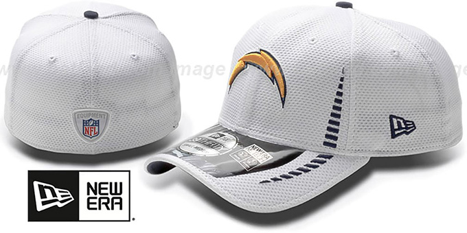 Chargers 'NFL TRAINING FLEX' White Hat by New Era : pictured without stickers that these products are shipped with