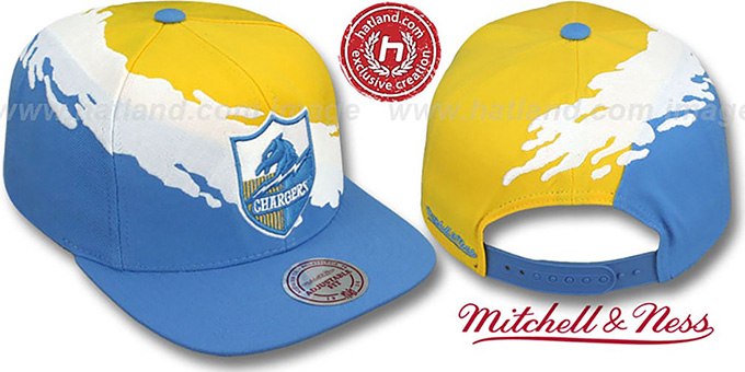 Chargers 'PAINTBRUSH SNAPBACK' Gold-White-Sky Hat by Mitchell & Ness : pictured without stickers that these products are shipped with