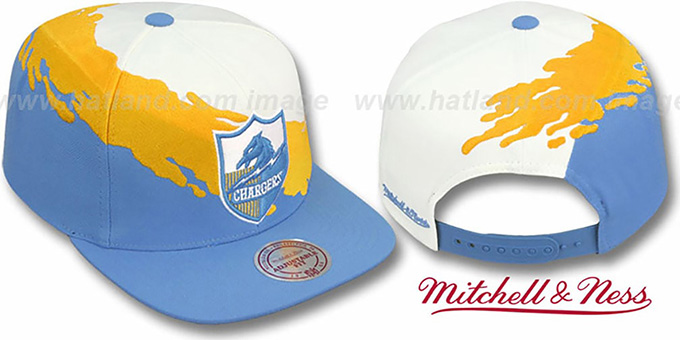 Chargers 'PAINTBRUSH SNAPBACK' White-Gold-Sky Hat by Mitchell & Ness : pictured without stickers that these products are shipped with