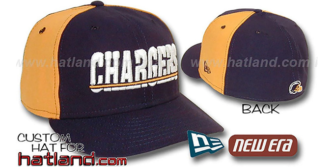 Chargers 'PINWHEEL-2' Navy-Gold Fitted Hat : pictured without stickers that these products are shipped with
