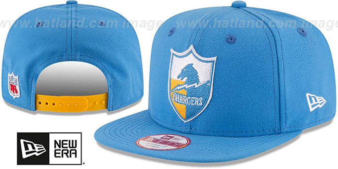 Chargers 'RETRO-BASIC SNAPBACK' Sky Hat by New Era : pictured without stickers that these products are shipped with