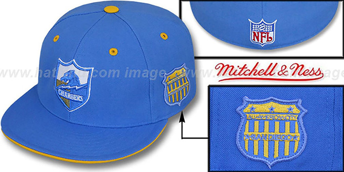 Chargers 'SCRIMMAGE PATCH' Blue Fitted Hat by Mitchell & Ness : pictured without stickers that these products are shipped with