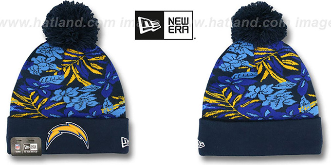 Chargers 'SNOW-TROPICS' Navy Knit Beanie Hat by New Era : pictured without stickers that these products are shipped with