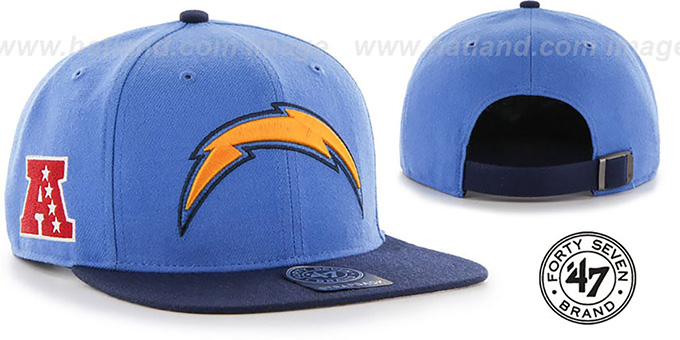 Chargers 'SUPER-SHOT STRAPBACK' Blue-Navy Hat by Twins 47 Brand : pictured without stickers that these products are shipped with