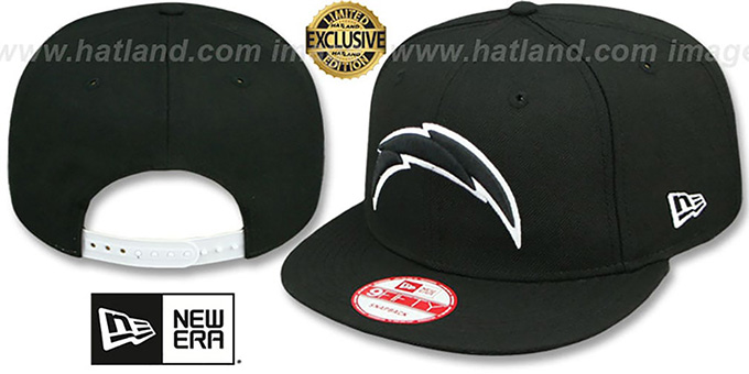 Chargers 'TEAM-BASIC SNAPBACK' Black-White Hat by New Era : pictured without stickers that these products are shipped with