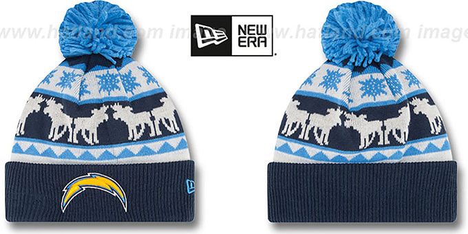 Chargers 'THE-MOOSER' Knit Beanie Hat by New Era : pictured without stickers that these products are shipped with