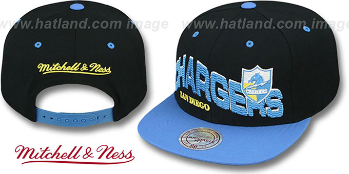 Chargers 'THE-WAVE SNAPBACK' Black-Sky Hat by Mitchell and Ness : pictured without stickers that these products are shipped with