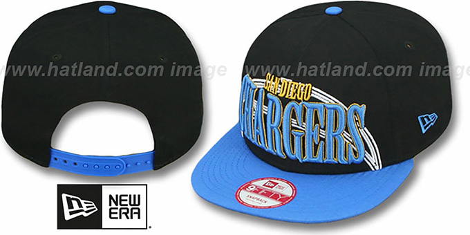 Chargers 'THROUGH SNAPBACK' Black-Blue Hat by New Era : pictured without stickers that these products are shipped with