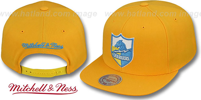 Chargers 'THROWBACK-BASIC SNAPBACK' Gold Hat by Mitchell & Ness : pictured without stickers that these products are shipped with