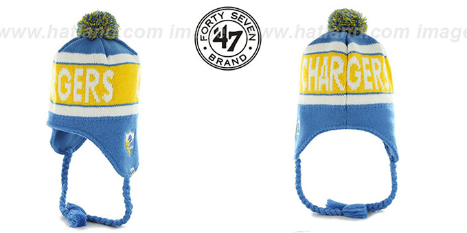 Chargers THROWBACK 'CRANBROOK' Knit Beanie Hat by Twins 47 Brand : pictured without stickers that these products are shipped with