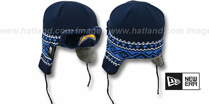 Chargers 'TRAPPER' Navy Knit Hat by New Era : pictured without stickers that these products are shipped with